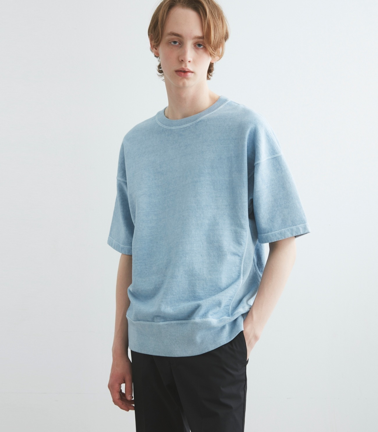 pigment dye cotton s/s  sweat 詳細画像 blue 5