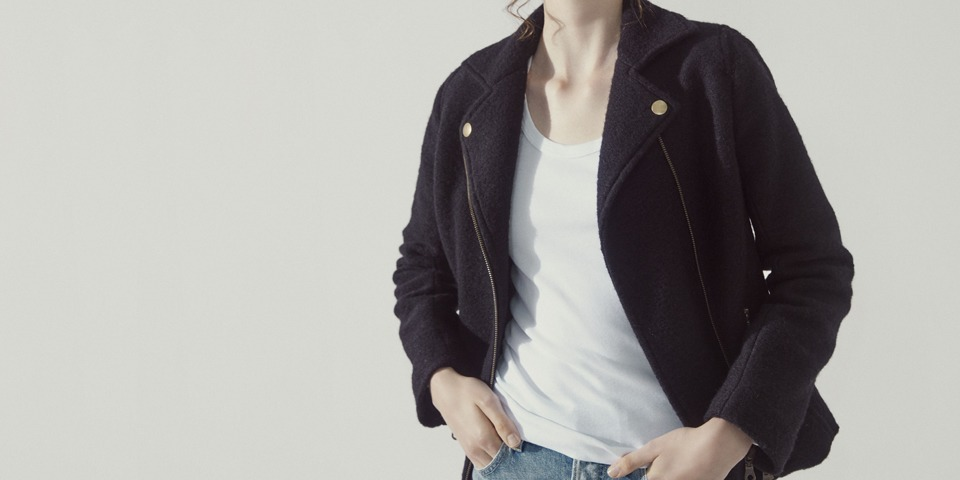 【WOMEN】sliver knit riders jacket